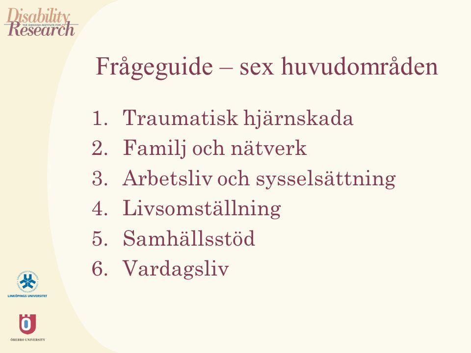 Frågeguide – sex huvudområden 1.Traumatisk hjärnskada 2.Familj och nätverk 3.Arbetsliv och sysselsättning 4.Livsomställning 5.Samhällsstöd 6.Vardagsliv