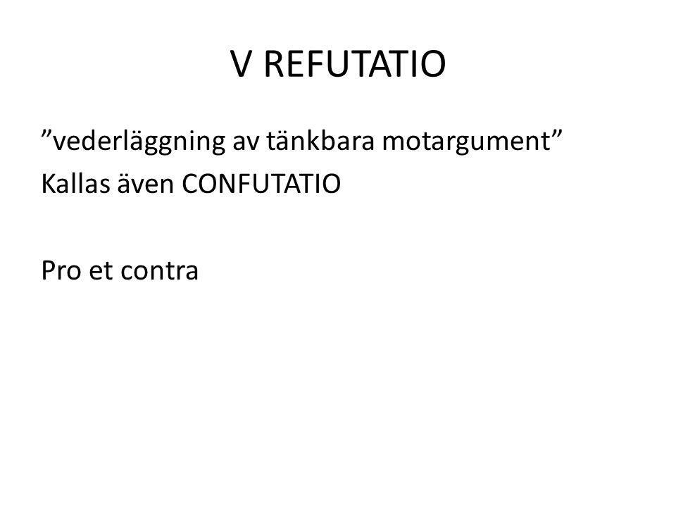 V REFUTATIO vederläggning av tänkbara motargument Kallas även CONFUTATIO Pro et contra
