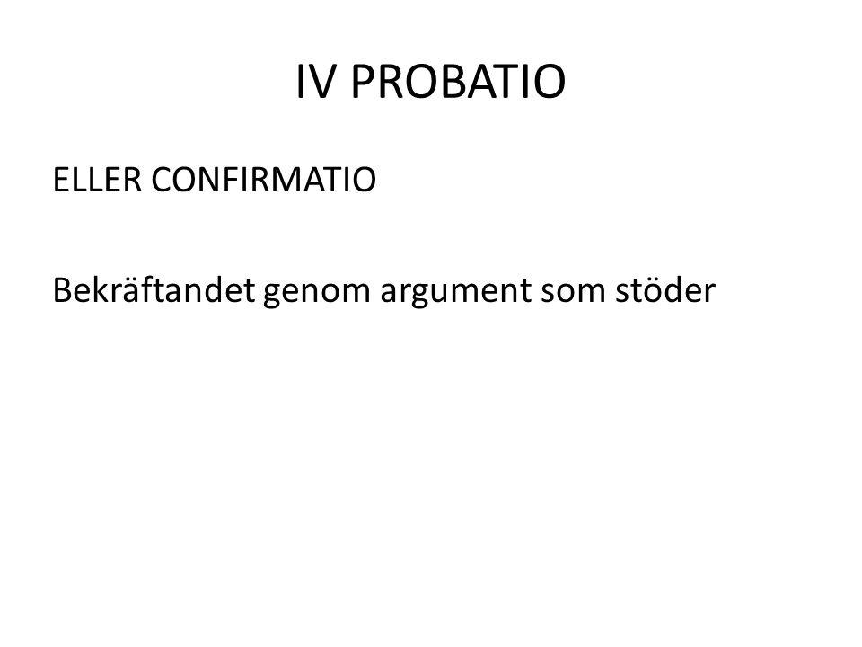 IV PROBATIO ELLER CONFIRMATIO Bekräftandet genom argument som stöder
