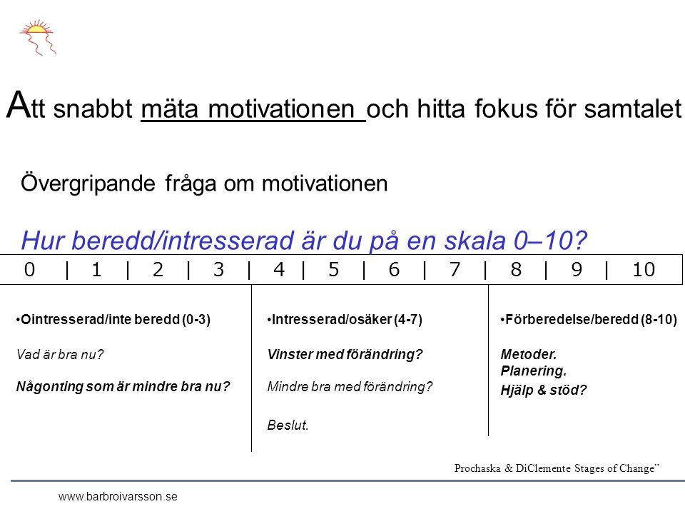 A tt snabbt mäta motivationen och hitta fokus för samtalet Ointresserad/inte beredd (0-3) Vad är bra nu.