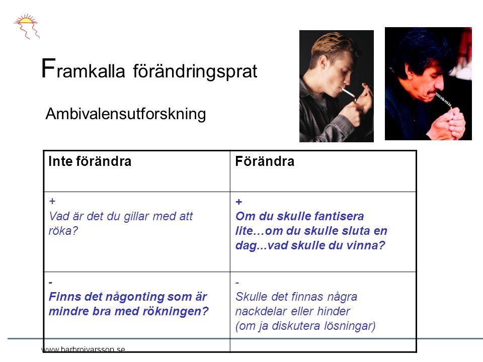 www.barbroivarsson.se F ramkalla förändringsprat Inte förändraFörändra + Vad är det du gillar med att röka.