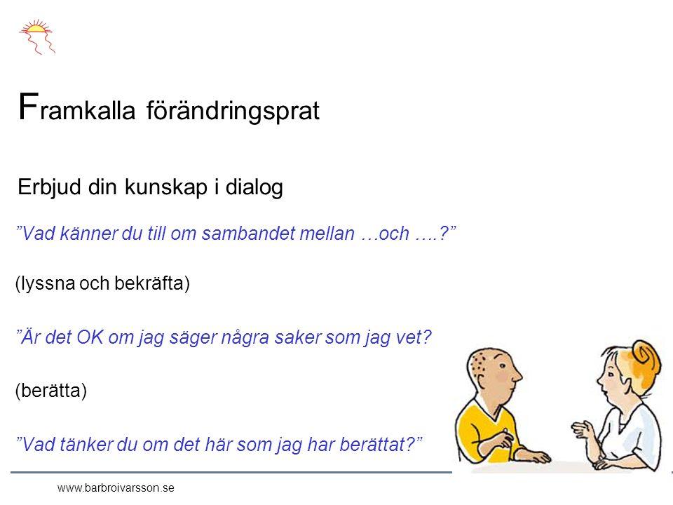 www.barbroivarsson.se Vad känner du till om sambandet mellan …och …. (lyssna och bekräfta) Är det OK om jag säger några saker som jag vet.
