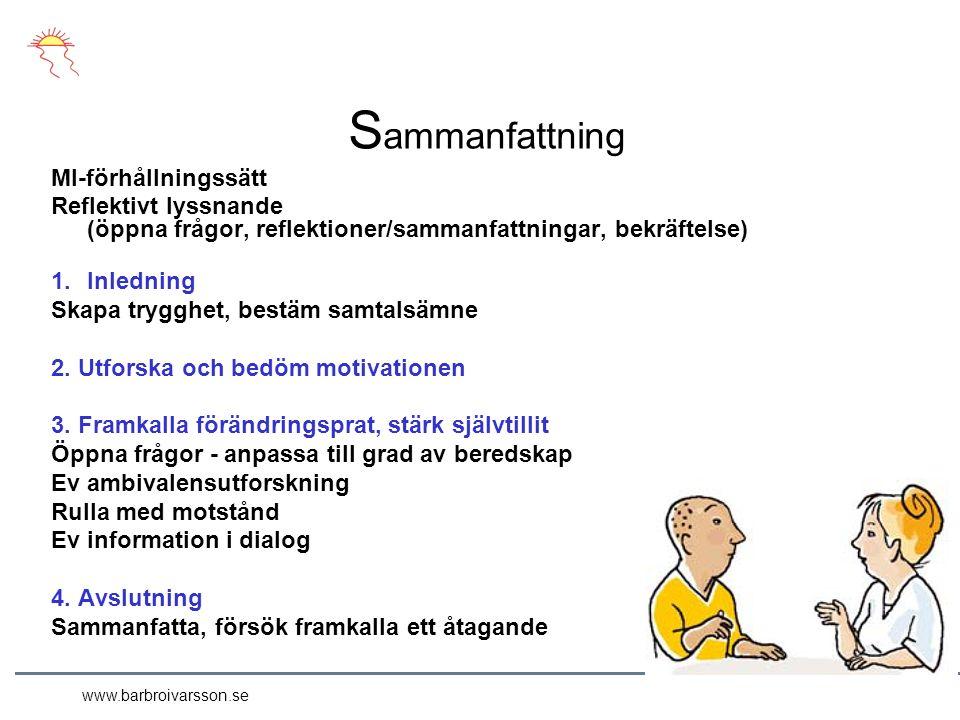 www.barbroivarsson.se S ammanfattning MI-förhållningssätt Reflektivt lyssnande (öppna frågor, reflektioner/sammanfattningar, bekräftelse) 1.Inledning Skapa trygghet, bestäm samtalsämne 2.