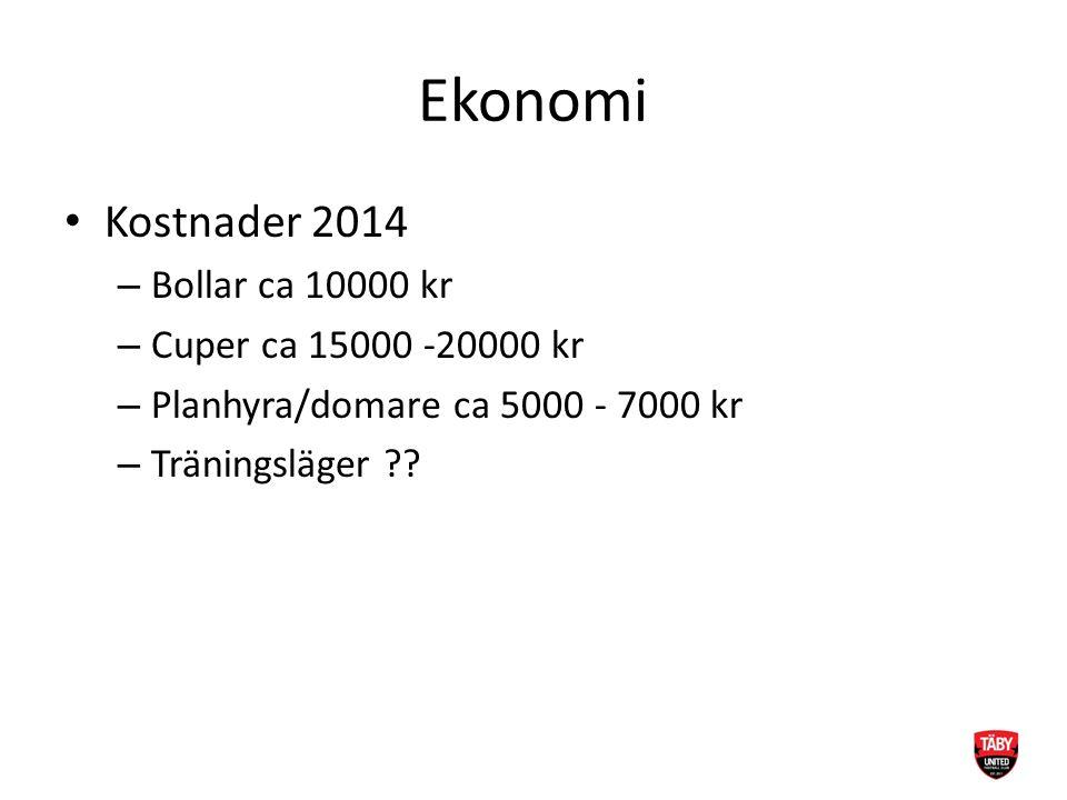 Ekonomi Kostnader 2014 – Bollar ca 10000 kr – Cuper ca 15000 -20000 kr – Planhyra/domare ca 5000 - 7000 kr – Träningsläger