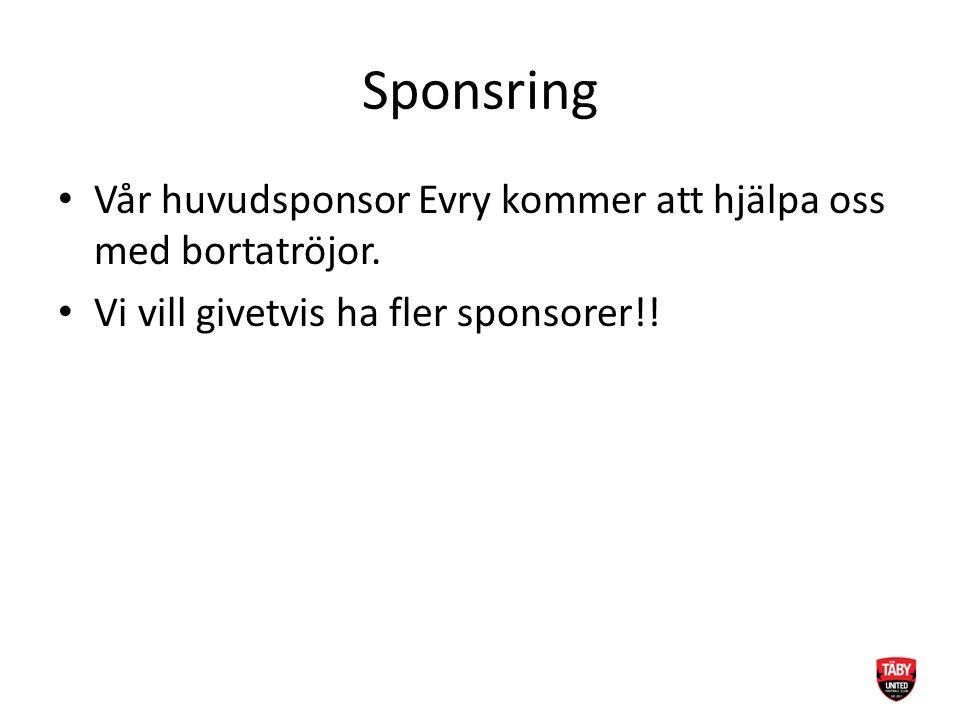 Sponsring Vår huvudsponsor Evry kommer att hjälpa oss med bortatröjor.