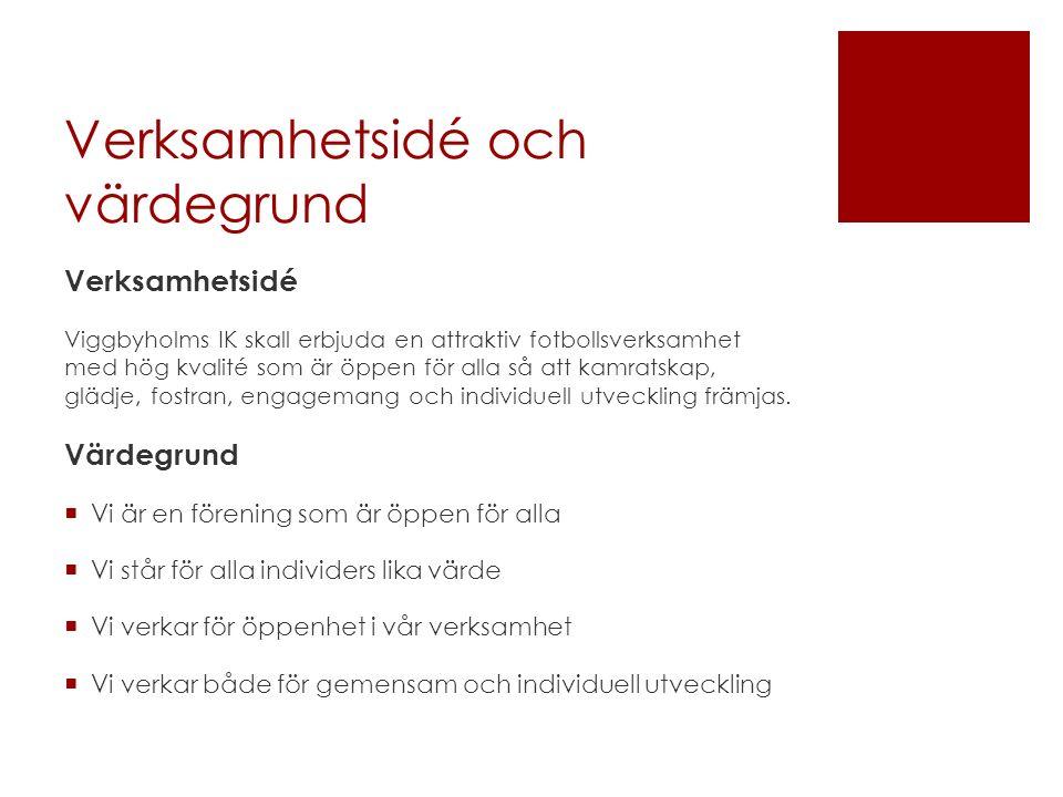 Verksamhetsidé och värdegrund Verksamhetsidé Viggbyholms IK skall erbjuda en attraktiv fotbollsverksamhet med hög kvalité som är öppen för alla så att kamratskap, glädje, fostran, engagemang och individuell utveckling främjas.