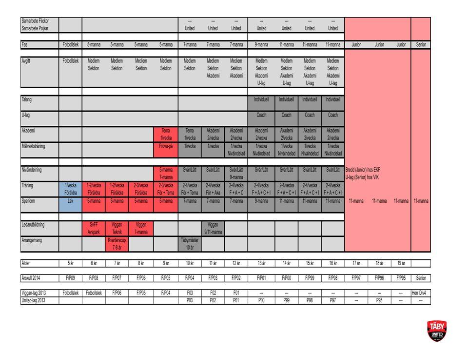Träning Sannolikt inte samma fasta indelning som under 2013 – Antalet spelare avgör – Vi kan inte ta beslut innan vi vet Oavsett gäller samma som tidigare – Olika spelare har olika behov av träning och har olika behov för att utvecklas – Träningsnärvaro kan fortsatt komma att påverka för att effektivt kunna jobba på olika träningsmoment.