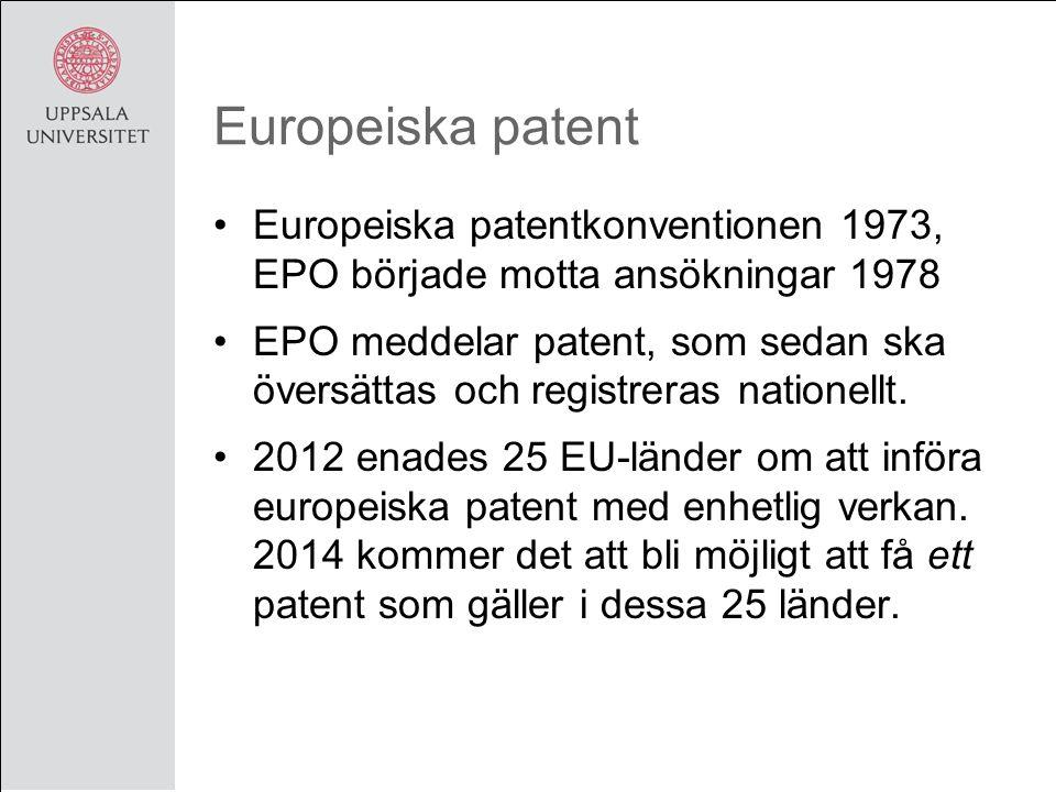 Europeiska patent Europeiska patentkonventionen 1973, EPO började motta ansökningar 1978 EPO meddelar patent, som sedan ska översättas och registreras nationellt.