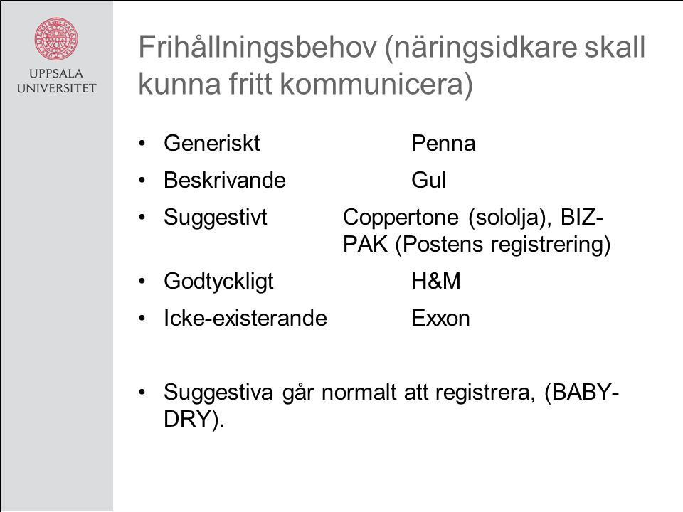 Frihållningsbehov (näringsidkare skall kunna fritt kommunicera) GenerisktPenna BeskrivandeGul SuggestivtCoppertone (sololja), BIZ- PAK (Postens registrering) GodtyckligtH&M Icke-existerandeExxon Suggestiva går normalt att registrera, (BABY- DRY).