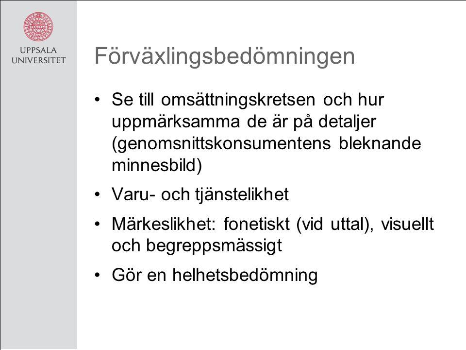 Förväxlingsbedömningen Se till omsättningskretsen och hur uppmärksamma de är på detaljer (genomsnittskonsumentens bleknande minnesbild) Varu- och tjänstelikhet Märkeslikhet: fonetiskt (vid uttal), visuellt och begreppsmässigt Gör en helhetsbedömning
