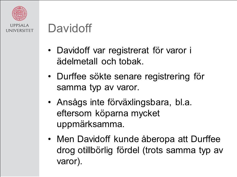 Davidoff Davidoff var registrerat för varor i ädelmetall och tobak.