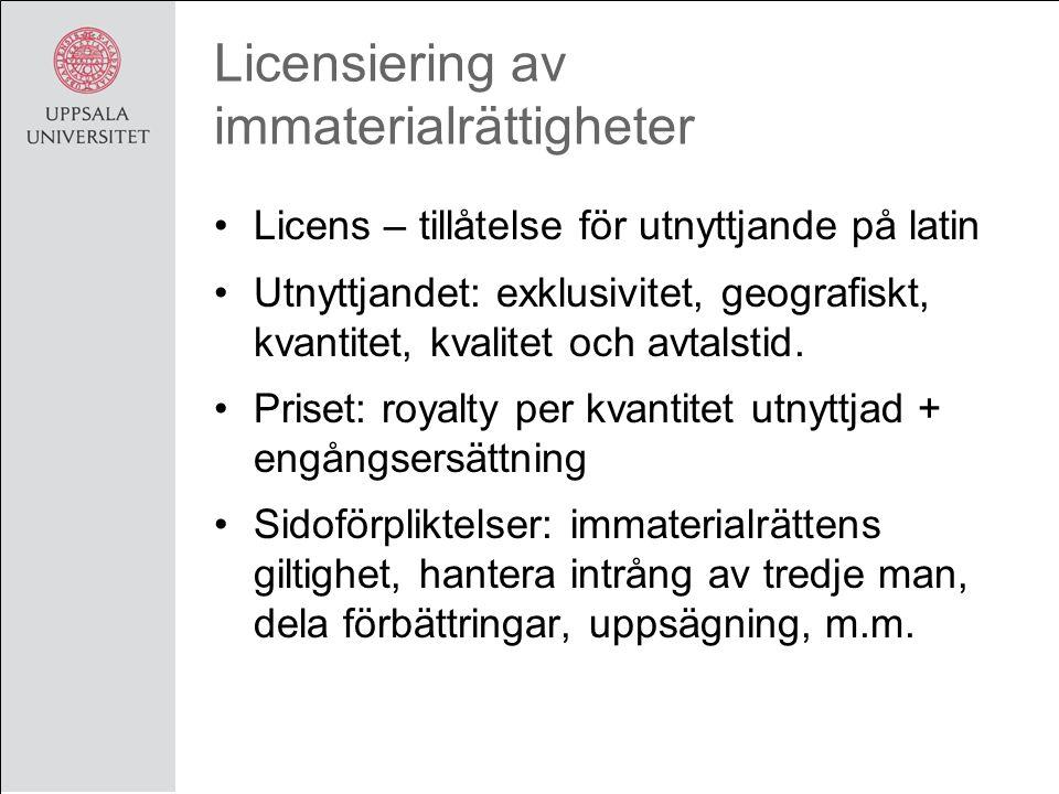 Licensiering av immaterialrättigheter Licens – tillåtelse för utnyttjande på latin Utnyttjandet: exklusivitet, geografiskt, kvantitet, kvalitet och avtalstid.