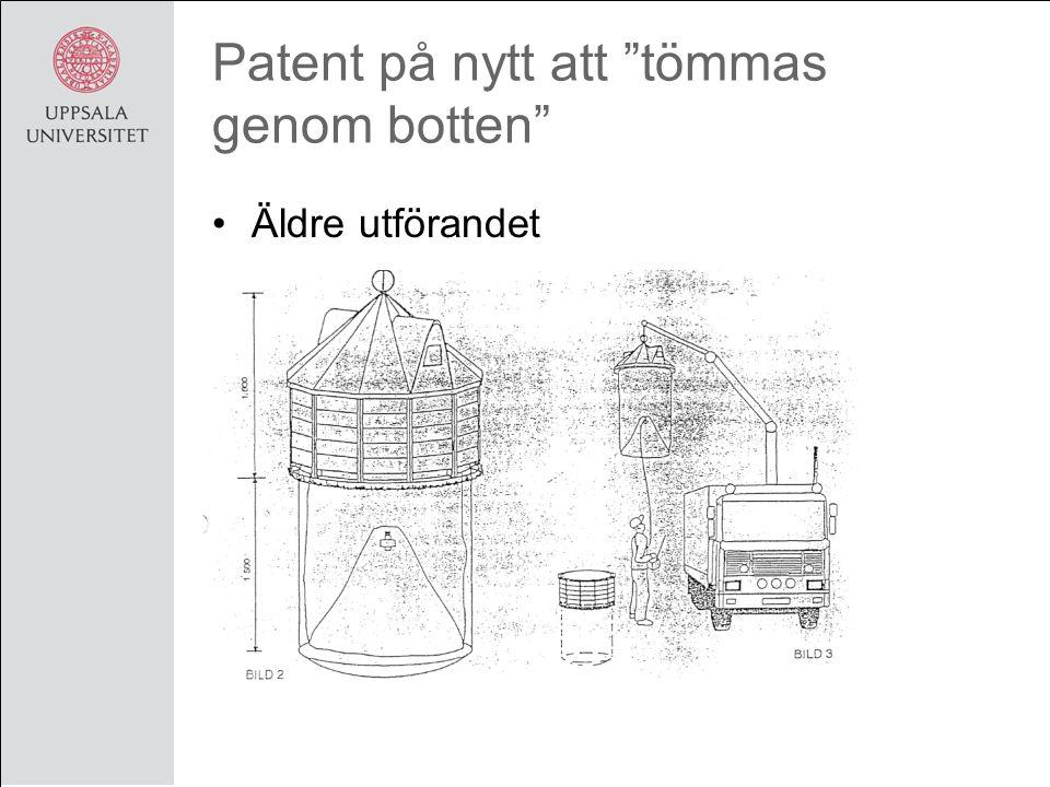 Patent på nytt att tömmas genom botten Äldre utförandet