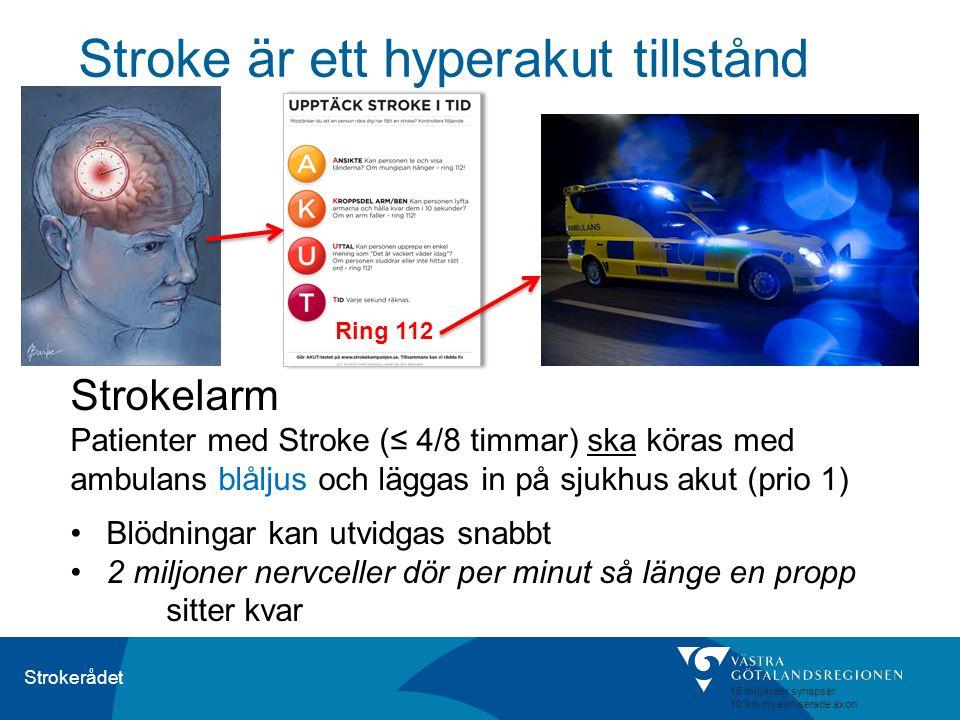 Strokerådet Stroke är ett hyperakut tillstånd Strokelarm Patienter med Stroke (≤ 4/8 timmar) ska köras med ambulans blåljus och läggas in på sjukhus a