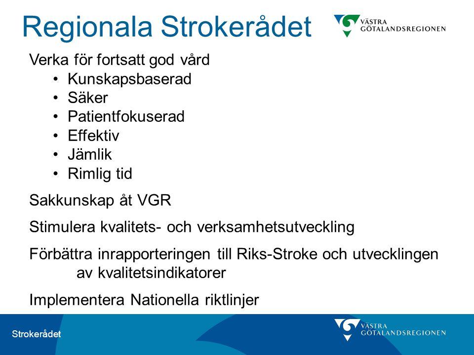 Strokerådet Verka för fortsatt god vård Kunskapsbaserad Säker Patientfokuserad Effektiv Jämlik Rimlig tid Sakkunskap åt VGR Stimulera kvalitets- och v