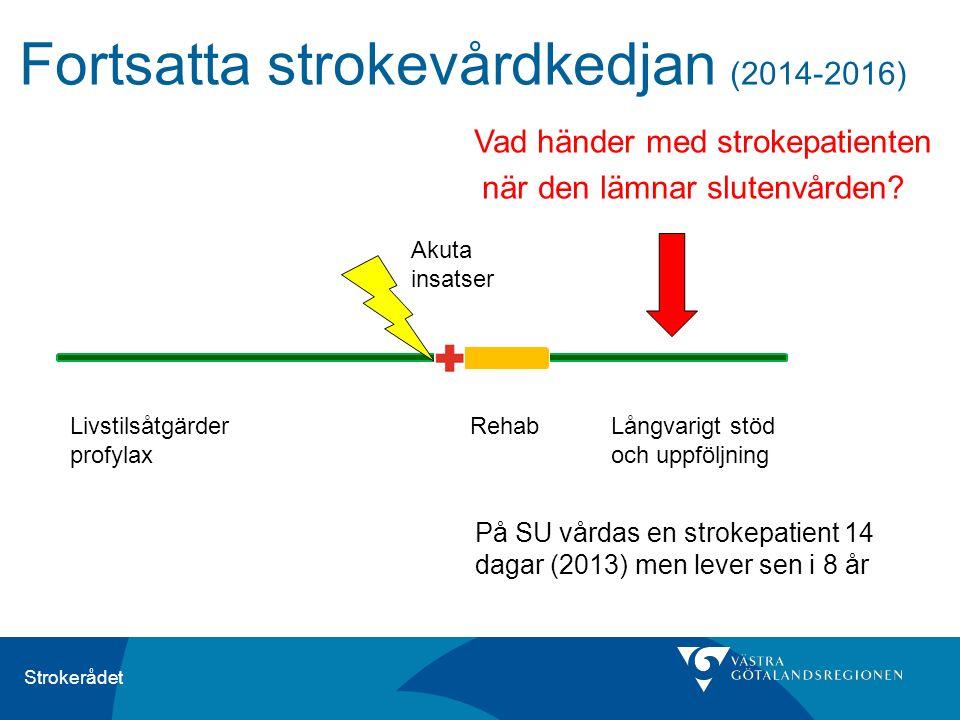 Strokerådet Fortsatta strokevårdkedjan (2014-2016) Vad händer med strokepatienten när den lämnar slutenvården? Akuta insatser Livstilsåtgärder profyla