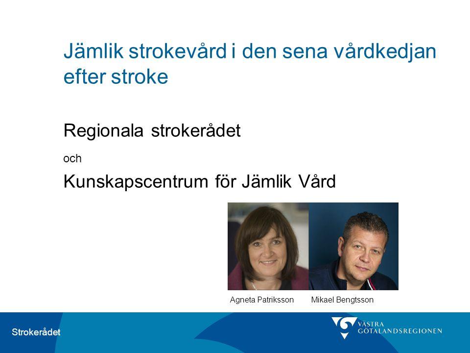 Strokerådet Jämlik strokevård i den sena vårdkedjan efter stroke Regionala strokerådet och Kunskapscentrum för Jämlik Vård Agneta Patriksson Mikael Be