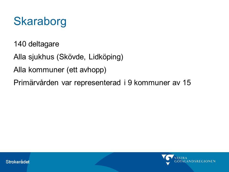 Strokerådet Skaraborg 140 deltagare Alla sjukhus (Skövde, Lidköping) Alla kommuner (ett avhopp) Primärvården var representerad i 9 kommuner av 15