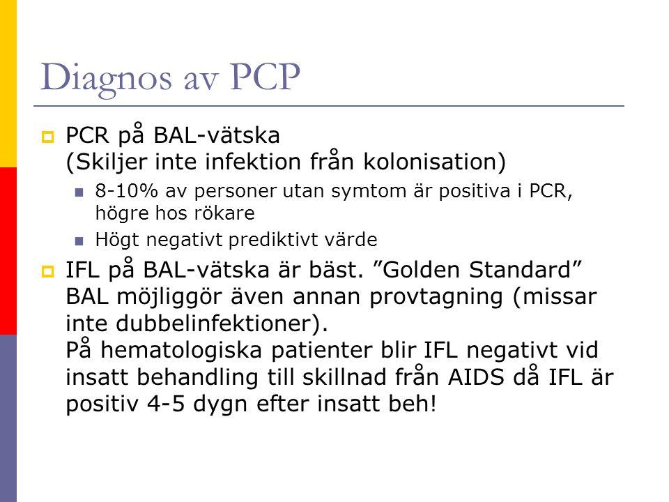 Diagnos av PCP  PCR på BAL-vätska (Skiljer inte infektion från kolonisation) 8-10% av personer utan symtom är positiva i PCR, högre hos rökare Högt negativt prediktivt värde  IFL på BAL-vätska är bäst.