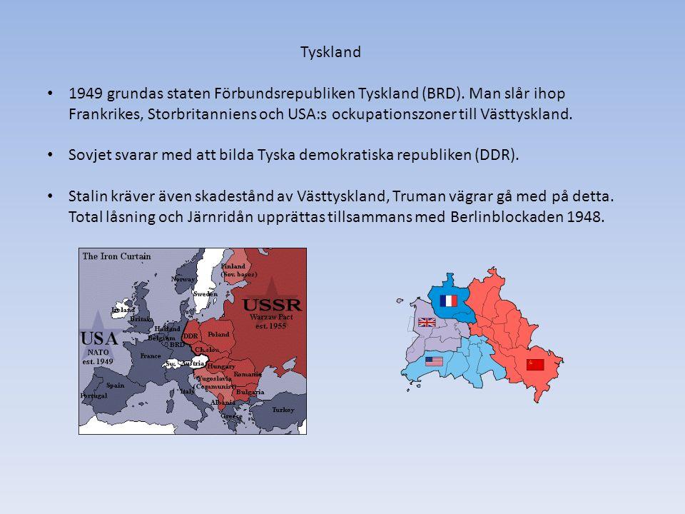 Tyskland 1949 grundas staten Förbundsrepubliken Tyskland (BRD).
