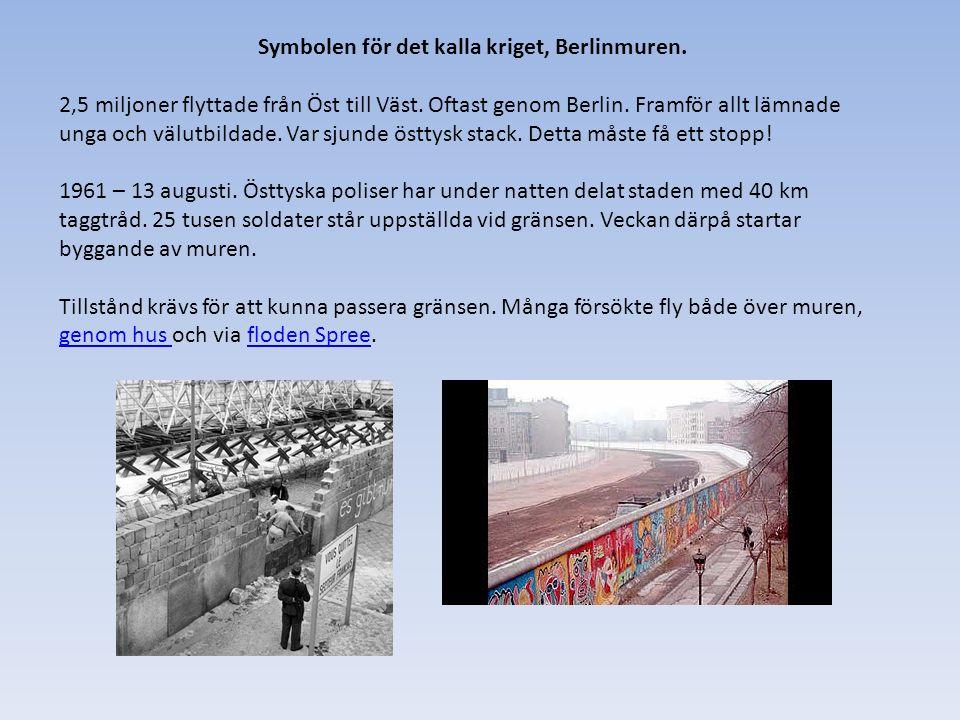 Symbolen för det kalla kriget, Berlinmuren. 2,5 miljoner flyttade från Öst till Väst.