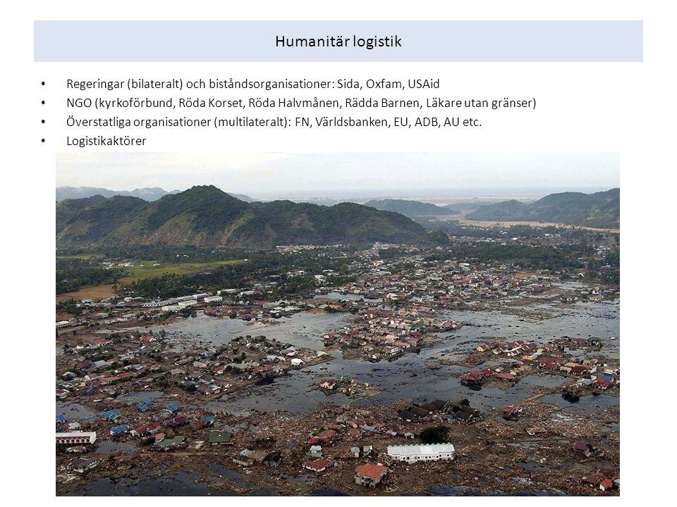 Humanitär logistik Regeringar (bilateralt) och biståndsorganisationer: Sida, Oxfam, USAid NGO (kyrkoförbund, Röda Korset, Röda Halvmånen, Rädda Barnen, Läkare utan gränser) Överstatliga organisationer (multilateralt): FN, Världsbanken, EU, ADB, AU etc.