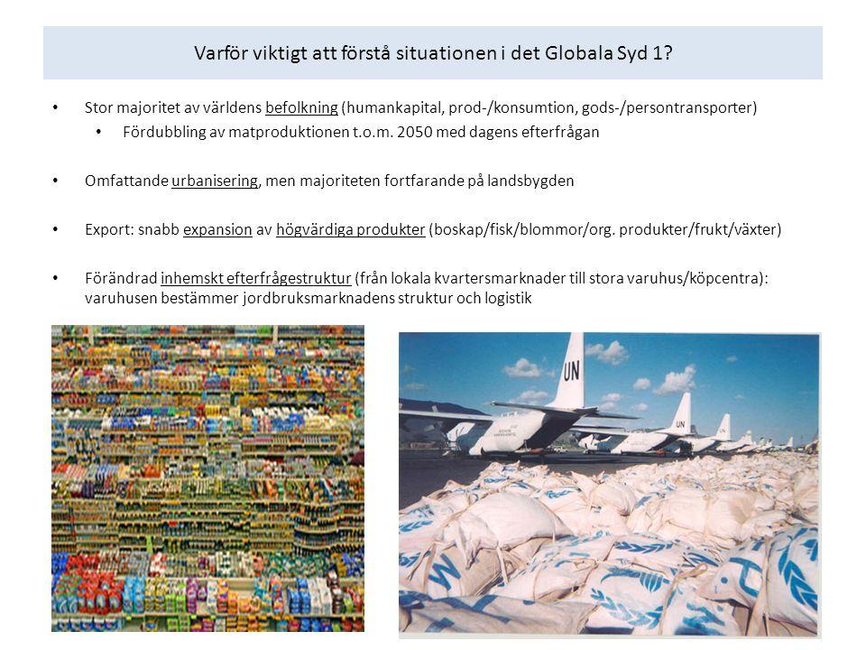 God jordbrukspotential men stor brist på transportinfrastruktur och logistiktjänster (post-harvest losses) 45% av landytan i låginkomstländer & 51% i lägre medelinkomstländer lokaliserad >5 h från marknad 45% av befolkningen i låginkomstländer lokaliserade inom 1 h från marknad Stor fattigdom och förödande naturkatastrofer (humanitär logistik): ring of fire Varför viktigt att förstå situationen i det Globala Syd 2?