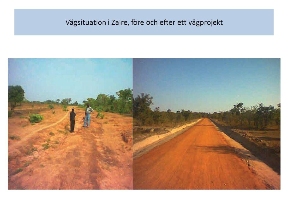 Vägsituation i Zaire, före och efter ett vägprojekt