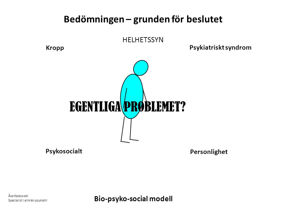 Bedömningen – grunden för beslutet HELHETSSYN Psykiatriskt syndrom Kropp Psykosocialt Personlighet Åsa Kadowaki Specialist i allmän psykiatri Bio-psyko-social modell EGENTLIGA PROBLEMET