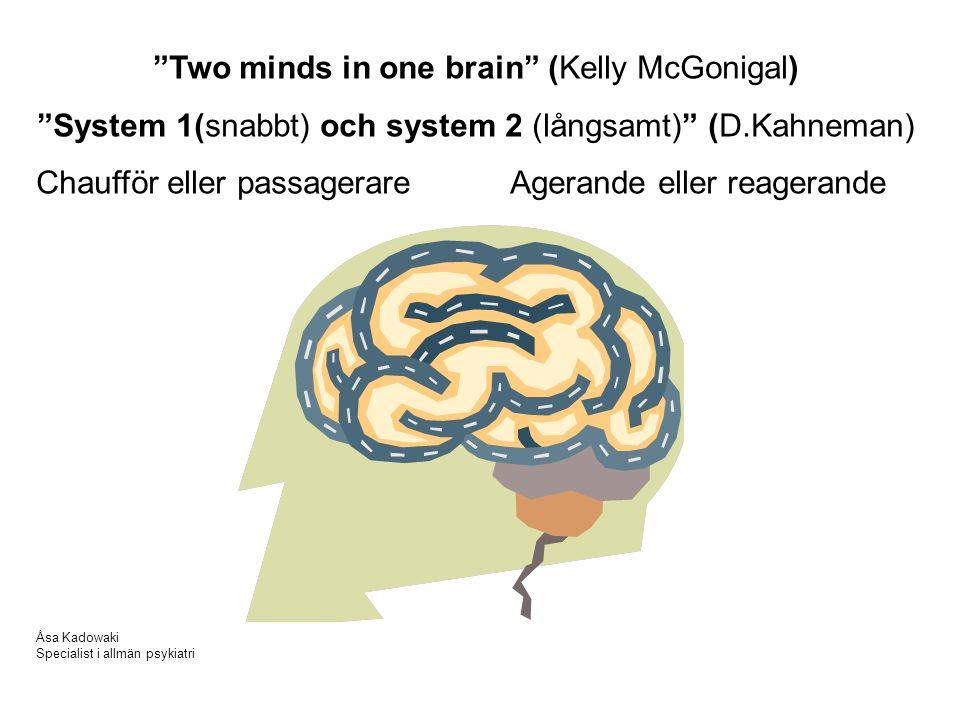 Two minds in one brain (Kelly McGonigal) System 1(snabbt) och system 2 (långsamt) (D.Kahneman) Chaufför eller passagerare Agerande eller reagerande Åsa Kadowaki Specialist i allmän psykiatri
