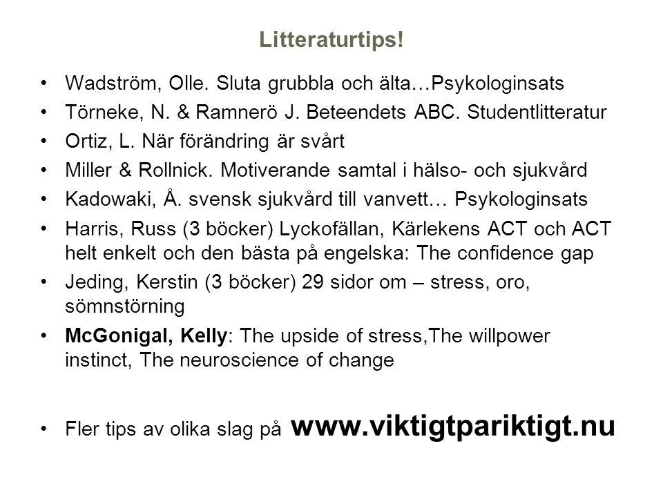 Litteraturtips! Wadström, Olle. Sluta grubbla och älta…Psykologinsats Törneke, N. & Ramnerö J. Beteendets ABC. Studentlitteratur Ortiz, L. När förändr