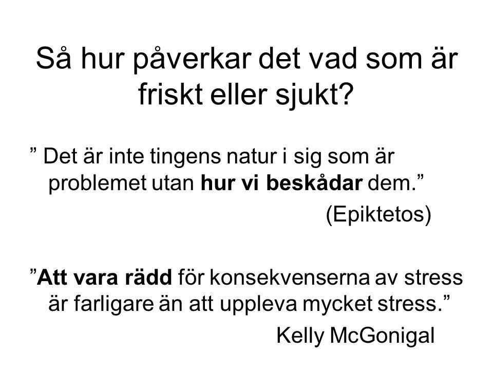 """Så hur påverkar det vad som är friskt eller sjukt? """" Det är inte tingens natur i sig som är problemet utan hur vi beskådar dem."""" (Epiktetos) """"Att vara"""