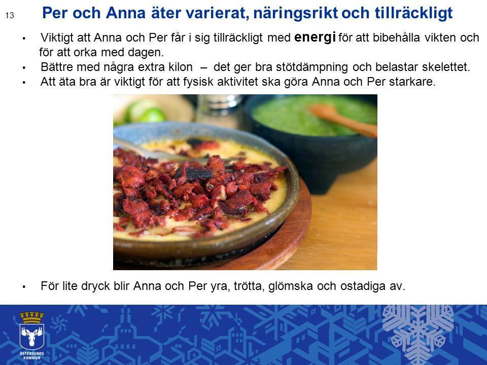 Per och Anna äter varierat, näringsrikt och tillräckligt Viktigt att Anna och Per får i sig tillräckligt med energi för att bibehålla vikten och för att orka med dagen.