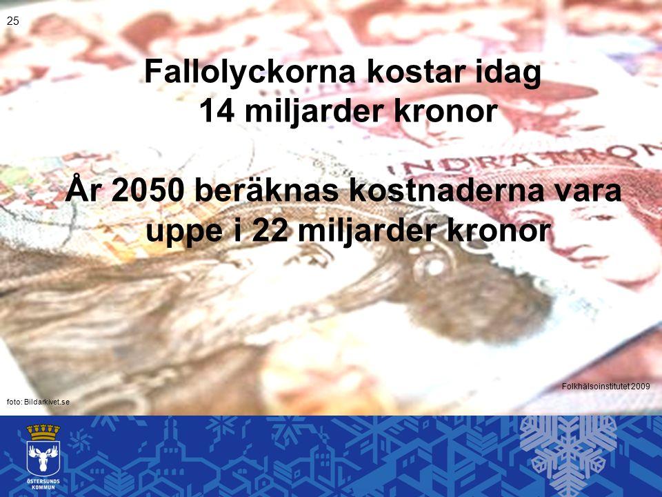Folkhälsoinstitutet 2009 25 Fallolyckorna kostar idag 14 miljarder kronor År 2050 beräknas kostnaderna vara uppe i 22 miljarder kronor foto: Bildarkivet.se