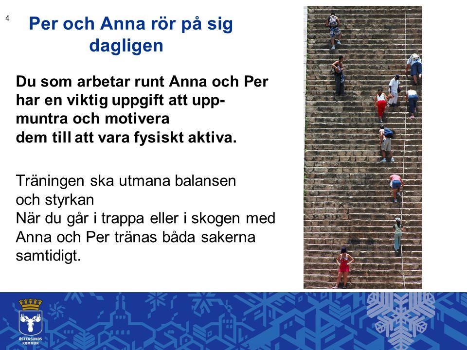 Per och Anna rör på sig dagligen Du som arbetar runt Anna och Per har en viktig uppgift att upp- muntra och motivera dem till att vara fysiskt aktiva.