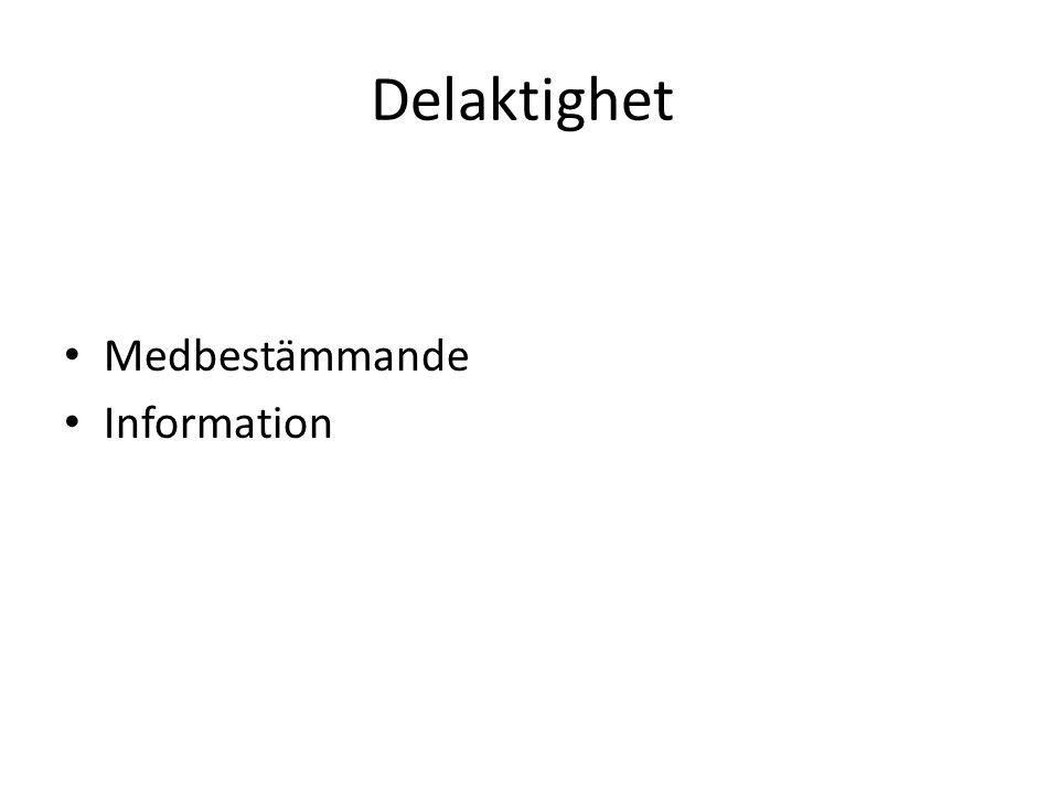 Delaktighet Medbestämmande Information