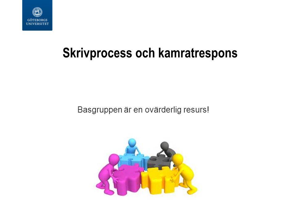 Skrivprocess och kamratrespons Basgruppen är en ovärderlig resurs!