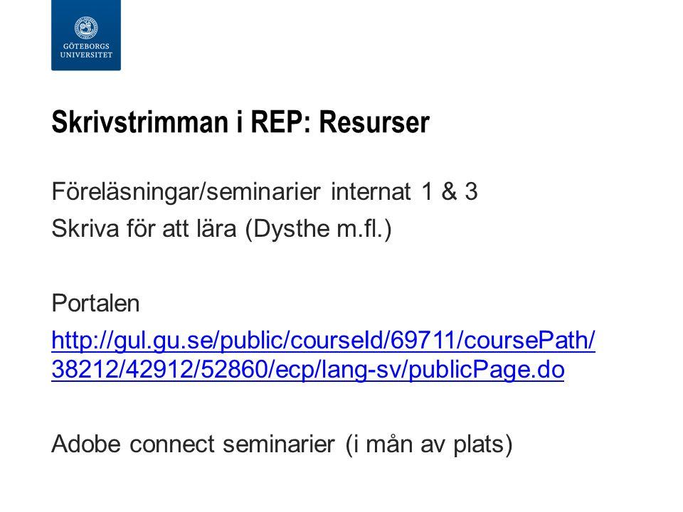 Skrivstrimman i REP: Resurser Föreläsningar/seminarier internat 1 & 3 Skriva för att lära (Dysthe m.fl.) Portalen http://gul.gu.se/public/courseId/69711/coursePath/ 38212/42912/52860/ecp/lang-sv/publicPage.do Adobe connect seminarier (i mån av plats)