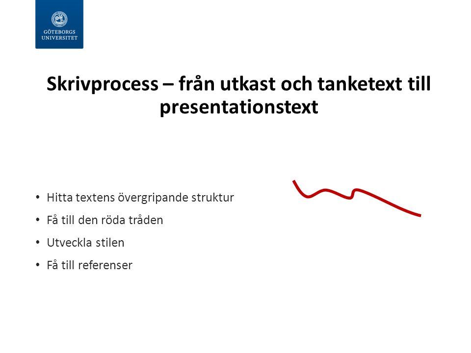 Skrivprocess – från utkast och tanketext till presentationstext Hitta textens övergripande struktur Få till den röda tråden Utveckla stilen Få till referenser