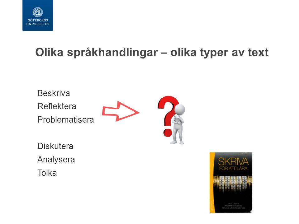 Olika språkhandlingar – olika typer av text Beskriva Reflektera Problematisera Diskutera Analysera Tolka
