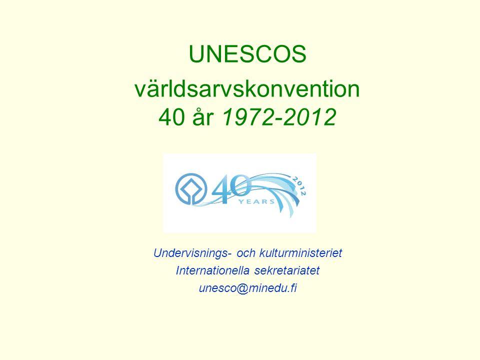 UNESCOS världsarvskonvention 40 år 1972-2012 Undervisnings- och kulturministeriet Internationella sekretariatet unesco@minedu.fi