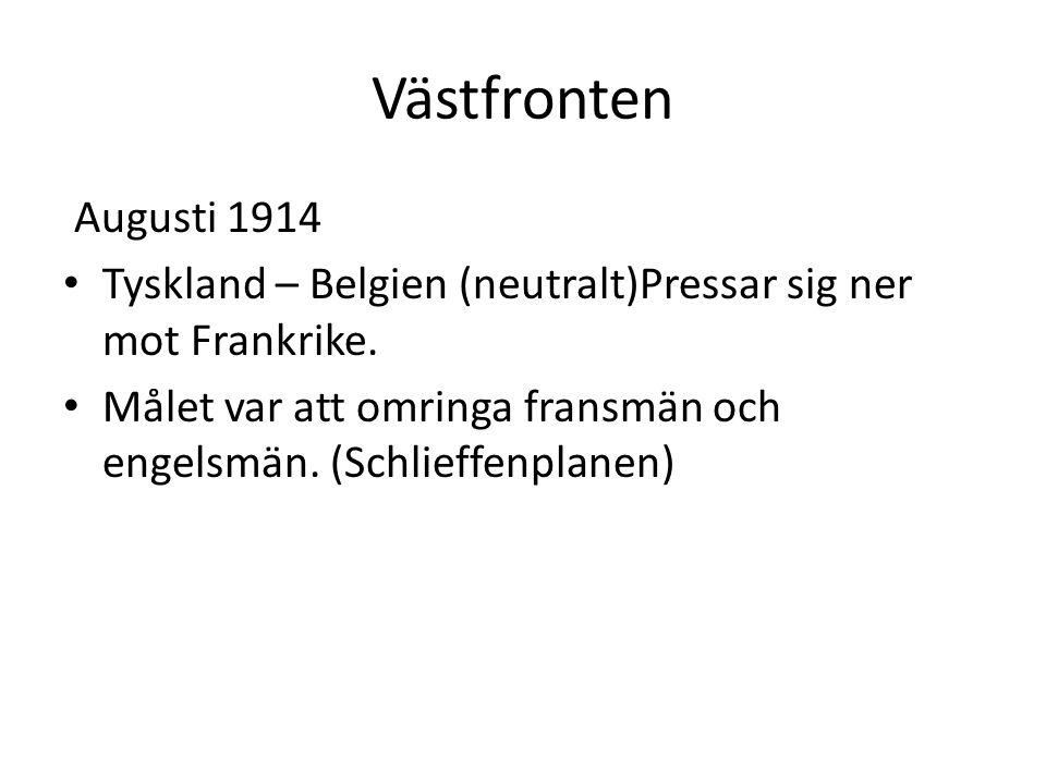 Västfronten Augusti 1914 Tyskland – Belgien (neutralt)Pressar sig ner mot Frankrike. Målet var att omringa fransmän och engelsmän. (Schlieffenplanen)