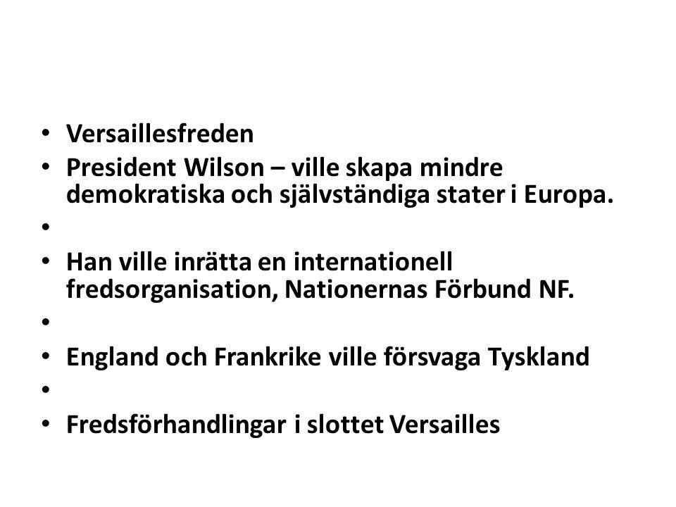 Versaillesfreden President Wilson – ville skapa mindre demokratiska och självständiga stater i Europa. Han ville inrätta en internationell fredsorgani