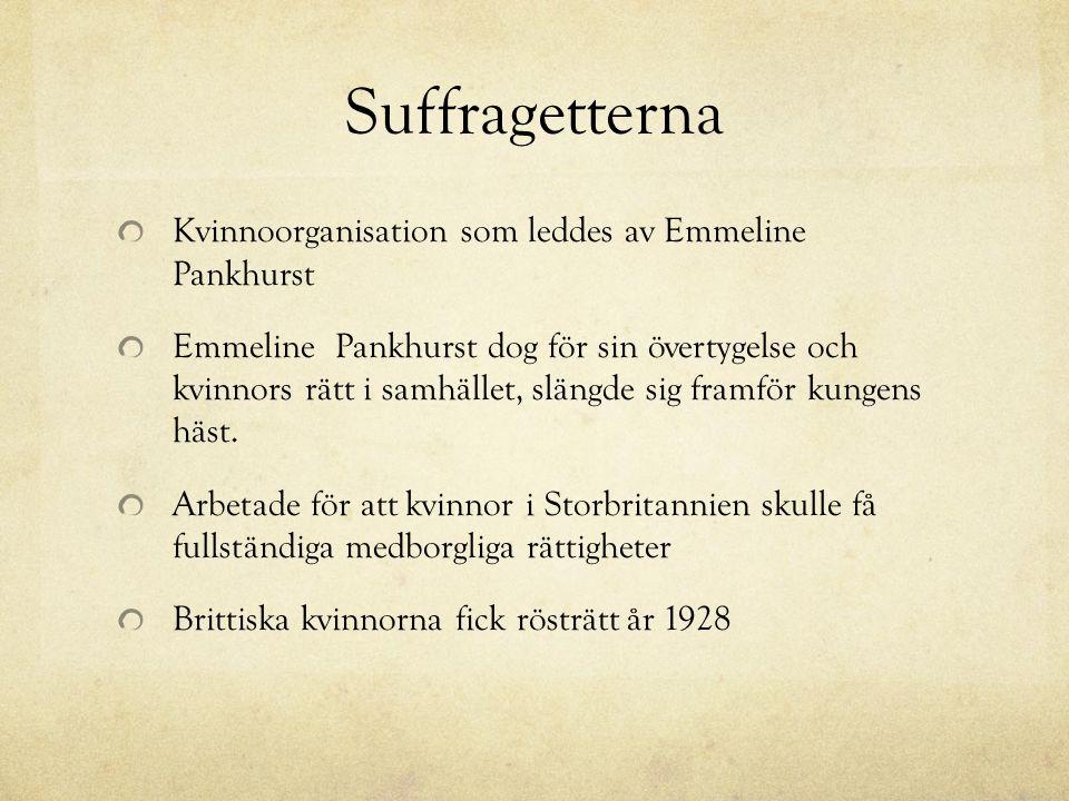 Suffragetterna Kvinnoorganisation som leddes av Emmeline Pankhurst Emmeline Pankhurst dog för sin övertygelse och kvinnors rätt i samhället, slängde sig framför kungens häst.