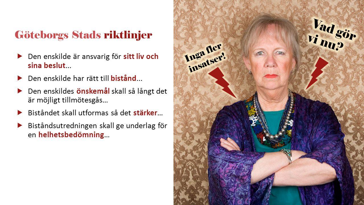 Göteborgs Stads riktlinjer  Den enskilde är ansvarig för sitt liv och sina beslut...  Den enskilde har rätt till bistånd...  Den enskildes önskemål