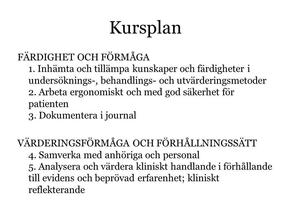 Kursplan FÄRDIGHET OCH FÖRMÅGA 1.