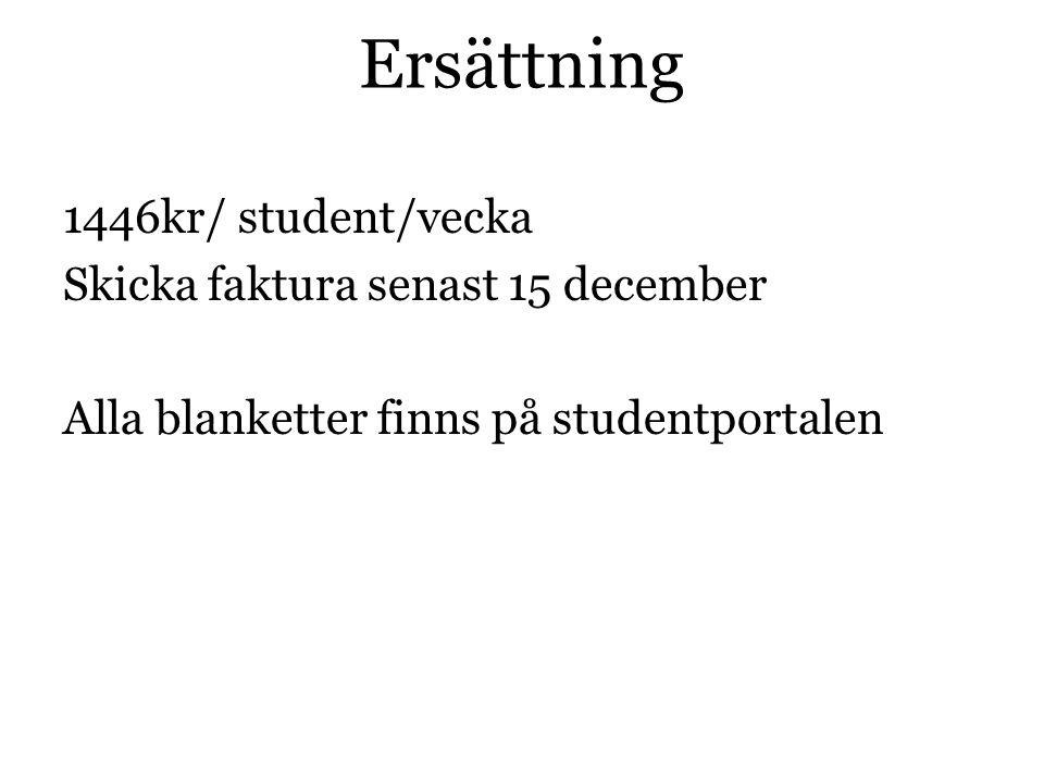 Ersättning 1446kr/ student/vecka Skicka faktura senast 15 december Alla blanketter finns på studentportalen