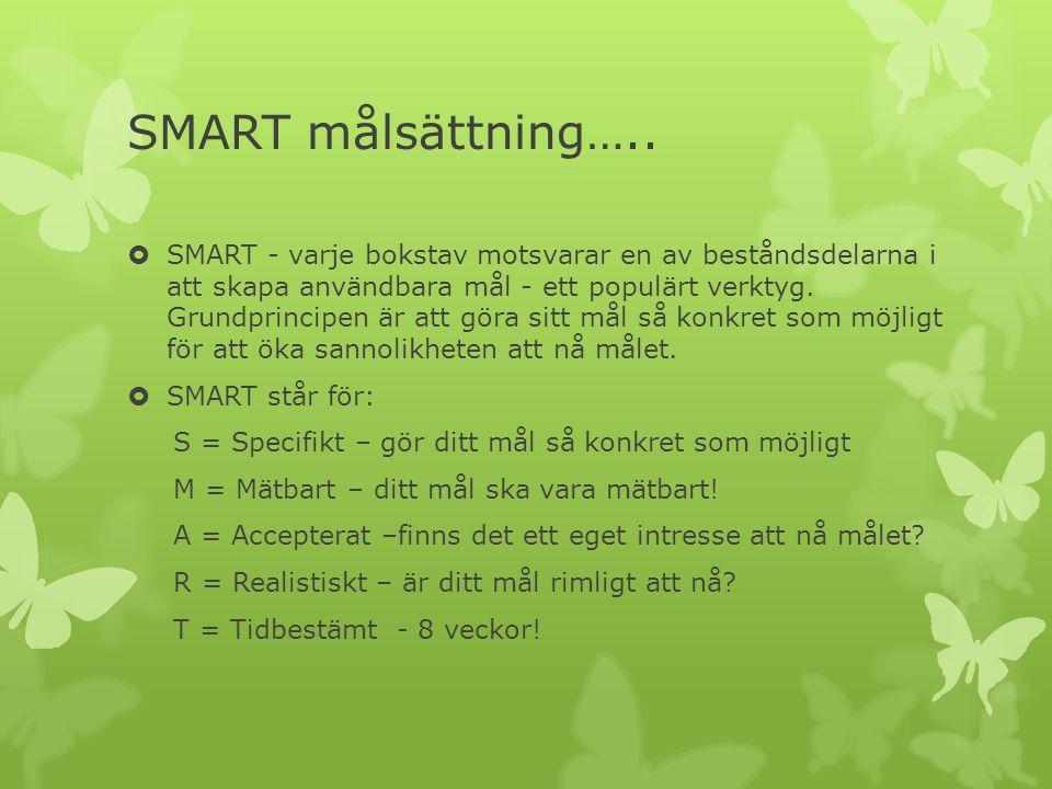 SMART målsättning…..