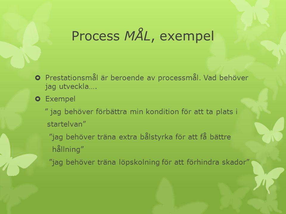 Process MÅL, exempel  Prestationsmål är beroende av processmål.