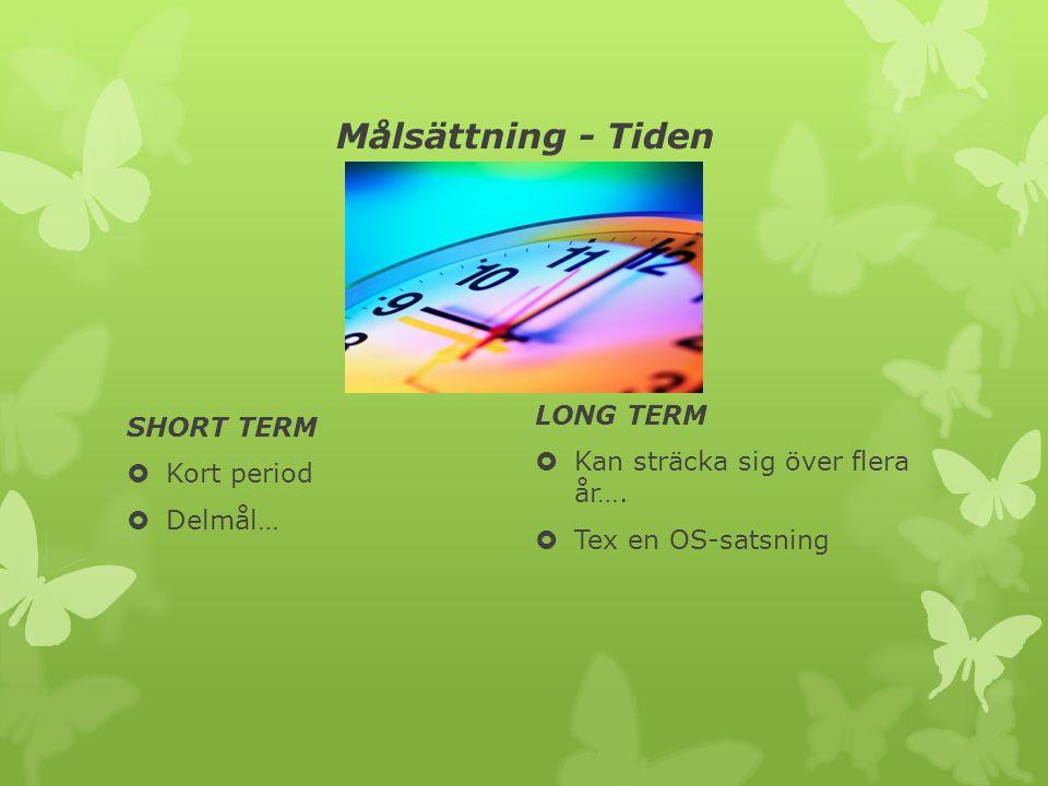 Målsättning - Tiden SHORT TERM  Kort period  Delmål… LONG TERM  Kan sträcka sig över flera år….